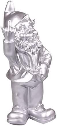 Statuette Nain de Jardin Doigt d'honneur - Maison/Jardin - 15 x 12 x 32 cm - argenté