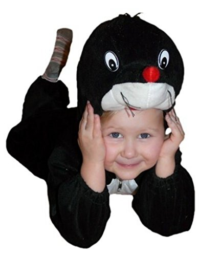 Maulwurf-Kostüm, An47 Gr. 104-110, für Kinder, Maulwurf-Kostüme Maulwürfe für Fasching Karneval, Klein-Kinder Karnevalskostüme, Kinder-Faschingskostüme, Geburtstags-Geschenk Weihnachts-Geschenk