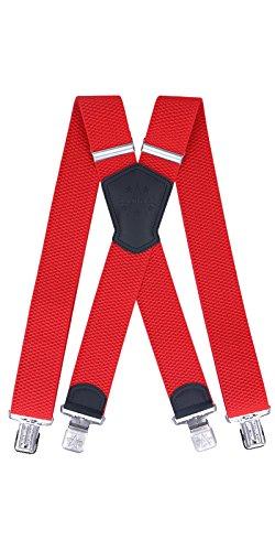 Ranger Hosenträger für Herren X-förmige 5cm breit verstellbar und elastisch mit einem sehr starken Clips (rot 1)