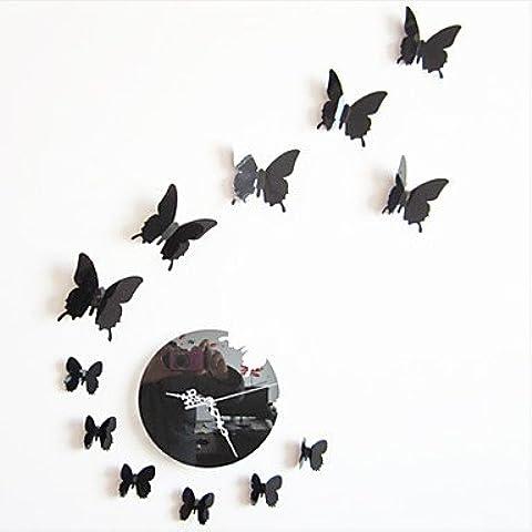 Orologio da parete–Modern/stile classico contemporaneo–plastica–a cerchio, Silvery