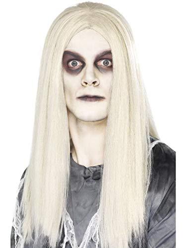 Perücke Indianer Kostüm Zubehör - Halloweenia - Kostüm Accessoires Zubehör Glatte Herren Langhaar Perücke Zombie Geisterstadt im Toter Indianer Stil, perfekt für Karneval, Fasching und Fastnacht, Weiß