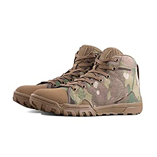FREE SOLDIER Men's Army Boots Tactical Lace Up Camouflage Ankle Sneaker with Rubber for Hiking,Running, Outdoor Sports Breathable and Lightweight Military Boot 1