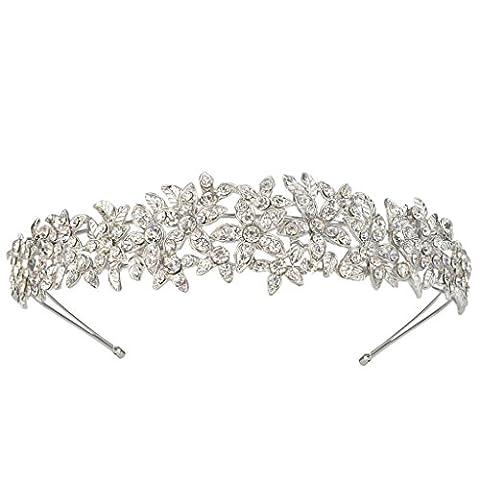 EVER FAITH® elegant Blume Braut österreichischen Kristall Diadem Haarband Haarschmuck