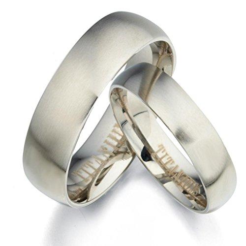 Gemini Damen-Ring Titan , Herren-Ring Titan , Freundschaftsringe , Hochzeitsringe , Eheringe, Mattiert rund Breite 7mm Größe 65 (20.7)