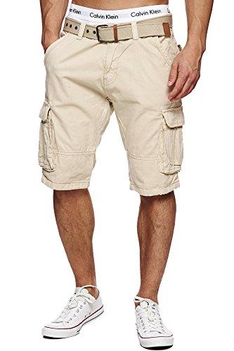 Indicode Herren Monroe Cargo ZA Cargo Shorts Bermuda Kurze Hose mit Gürtel Fog XL -