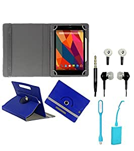 Gadget Decor (TM) PU Leather Rotating 360° Flip Case Cover With Stand For DOMO Slate S5 3G Voice calling TABLET + Free USB Led Light + Free Handsfree( Without Mic) - Dark Blue