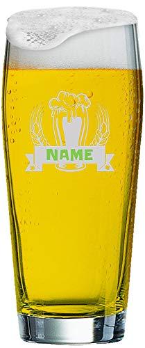 Becher 0,5 l mit individueller Gravur | Graviertes Willi Bierglas mit Namen nach Wunsch und Premium-Logo (Bier) ()