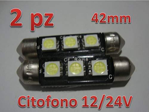 2 x 42 mm Led Festoon 24 V siluro Türsprechanlage LKW Pullman weiß 6400K -