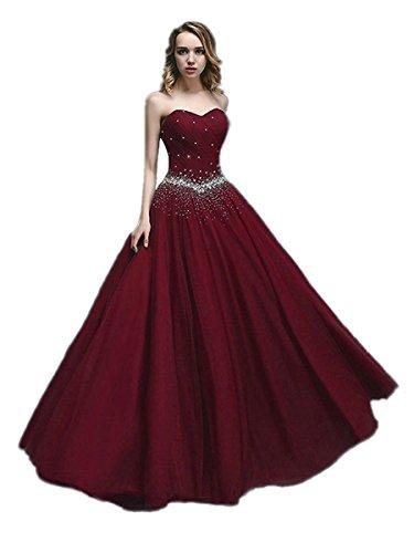 APXPF Damen Lange Tüll Perlen Prinzessin Abendkleider Prom Ballkleid 4 Burgund - Friesen Langen Abendkleid
