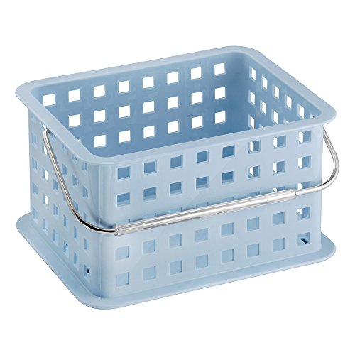 mDesign Caja perfecta como caja almacenaje para juguetes – También ideal como caja para guardar ropa – Pack de 3 con unas medidas de 23,5 cm x 17,8 cm x 12,7 cm en color azul