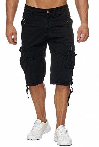 Herren Cargo-Shorts · Relaxed Fit · 3/4 Bermuda · Sommer Shorts · Kurze Freizeit Hose · 100% Reine Baumwolle · Walkshort · Unifarben · H1803 in Markenqualität (Shorts Walkshorts)