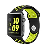 TrueUpgrade Apple iWatch Strap 38mm Soft Skin Friendly Silica Gel TPU Band Shock Absorber Compatible with Apple iWatch Generic Strap (Watch Not Included) (Black Florocent)