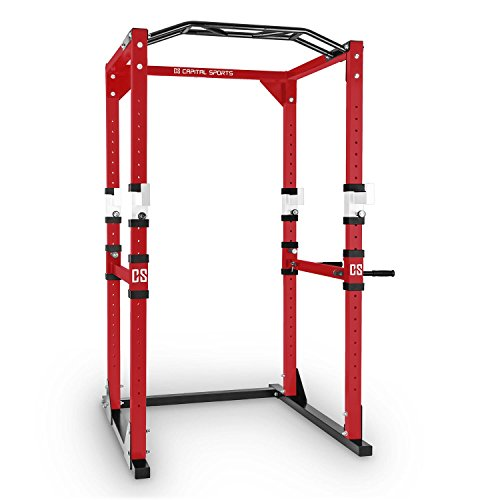 CAPITAL SPORTS Tremendour Power Rack • Power Cage • Kraftstation • 2 x Safety Spotter: 20-stufig • 4 x J-Hooks • Multigripp-Klimmzugstange • aufsteckbare Dipstangen • Stahl-Kantrohrrahmen • rot