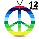meekoo 16 Sets Hippie Peace Collar Colgante del Signo de la Paz del Color del Arco Iris 1960 Accesorios Hippie para Mujeres Hombres Suministros para la Fiesta