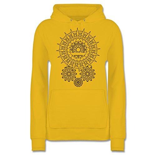 Boheme Look - Boho Mandala Yoga - M - Gelb - JH001F - Damen Hoodie