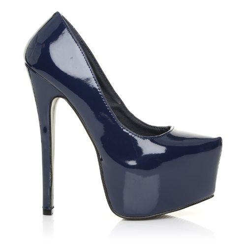 ShuWish UK - Damen Pumps Donna Lackleder Stiletto Sehr Hoher Absatz Plateau Marineblau Lackleder