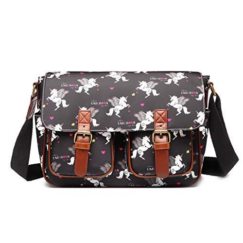 Miss Lulu Umhängetasche Schulranzen Bookbag Wachstuch Vogel Blume Einhorn Cross-Body Handtasche (Einhorn Schwarz)
