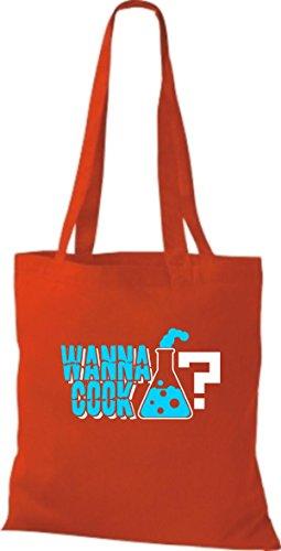 Borsa In Cotone Tote Bag In Cotone Provetta Provetta Cottura Colore Giallo Rosso