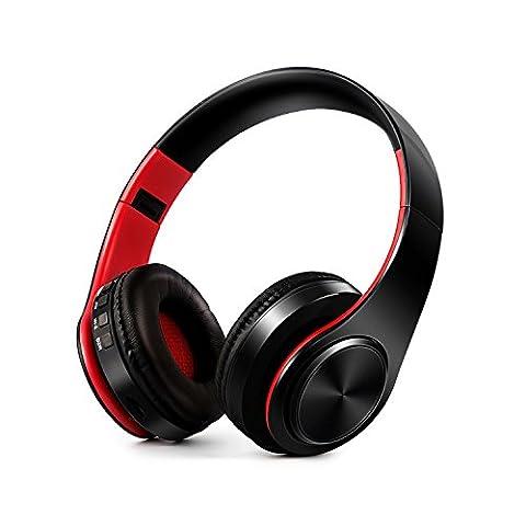 Casque Stéréo, BoYu Casque PC Portable Stereo Headset Haute Définition Casque de Musique Contrôle de Volume Sport Ecouteur avec Jack 3,5 mm pour Hommes et Femmes (Rouge Noir)