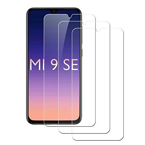Pufee Protector de Pantalla para Xiaomi Mi 9 SE, [3 Piezas] Cristal Templado para Xiaomi Mi 9 SE, [9H Dureza] [Anti-Arañazos] Cobertura Completa, Alta Definicion, Sin Burbujas