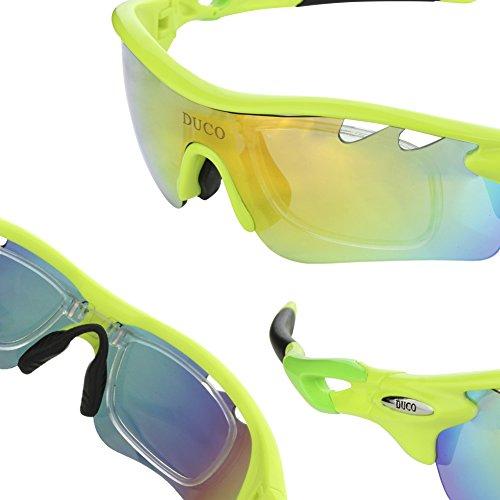 Duco Polarisierte Fahrradbrille Radfahren Sportbrille Sonnenbrille Schutzbrille 0025 (Grün) - 6