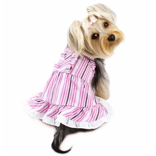 Artikelbild: Elegante Smart Streifen Picknick Hund Kleid Größe: XS (15,2cm–20,3cm L)