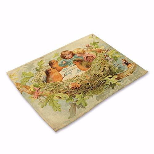 NoblePlacemat Einfacher Stil Tischsets,Vintage-Print Baumwoll-Leinen-Isolierung westlichen Matte, C,...