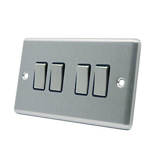 Lichtschalter 4GANG-Satin Chrom matt-quadratisch-schwarz-Metall Rocker Switch-4Gang 2Wege 10Amp - 4-steckdose Metall