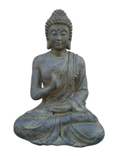 Figura de Buda sentado con gesto de la mano - para casa y jardín - Altura 73 cm - negro