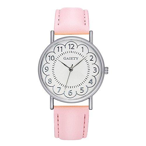 Damen Blumen Armbanduhr Lederarmband Damenuhr Analog Quartz Uhr Rosa