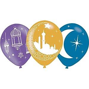 amscan 9903728 - Globos de látex (6 Unidades), Color Morado, Dorado y Azul