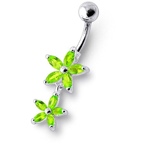 Bijou anneau nombril en argent sterling 925 double fleurs pierres fantaisies et pendant Banane 14Gx3/8(1.6x10MM) acier chirurgical 316L et boule 5mm Light Green