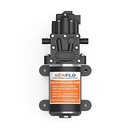 Seaflo-Bomba de agua de alta presión 12V 1,3GPM 60PSI diafragma automático Lavadora Agua Bomba Booster Marino barcos