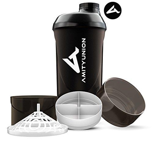 Fitness Shaker 700 ml mit 2 Extra Fächern - Deluxe Protein Shaker...