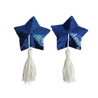 Czj-Innovation Riutilizzabile Nipple Cover Pasties Blu Figura a forma di stella