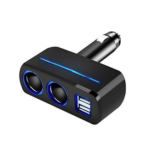 Myhonour Auto Ladegerät 80W 12V/24V USB KFZ Ladegerät 3.1A 2 USB Ports Multi-Funktion Power Auto Adapter mit 2-Fach KFZ Zigarettenanzünder Verteiler Splitter für iPhone, Samsung und mehr (Schwarz)