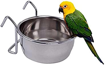 Pets Empire Stainless Steel Birds Coop Cup Feeder Bowl with Hook Holder 1 Piece 300 ML