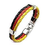 WikiMiu Echtes Leder Armband Deutschland/Frankreich Flagge Geflochten Gotik Lederarmband Kordelarmband Fussball Weltmeisterschaft Fanartikel (Deutsche Flagge)