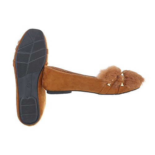 Slipper Damenschuhe Slipper Blockabsatz Slipper Ital-Design Halbschuhe Camel