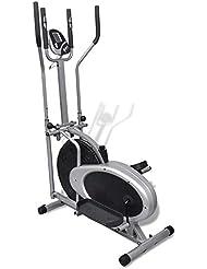 tidyard Bicicleta Elíptica con Sensores de Pulso de Diseño Ergonómico de Sin Interferencias de Ruido1100 x 500 x 1550 mm Negro y Plata