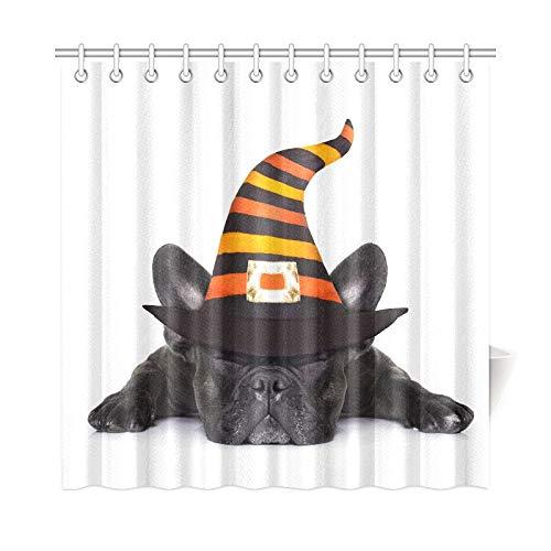 ad Vorhang Halloween Devil Französische Bulldogge Hund Angst Polyester Stoff Wasserdicht Duschvorhang Für Badezimmer, 72X72 Zoll Duschvorhang Haken Enthalten ()