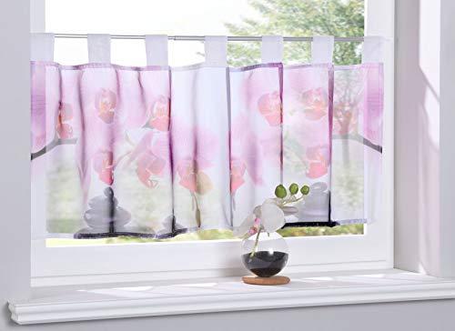 Gardinenbox Scheibengardine »Digital Druck« Voile Kurzgardine SChlaufen Transparent Digital Druck Küche Fenster Modern HxB 40x120 cm Orchidee, 10000262