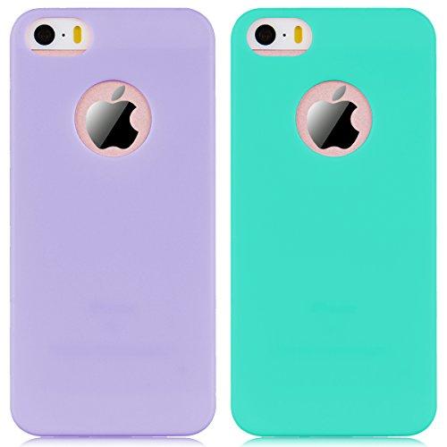 iPhone 5 / 5S / SE Hülle, Yokata Einfarbig Jelly Weich Silikon Gel Case Ultra Slim Matte Cover Anti-Fingerprint Schutzhülle Sehr Dünn Handyhülle - Rosa Lila + Blau
