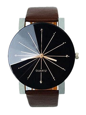Montre Homme, Kolylong Horloge à quartz faux cuir Montre d'affaires Montre-bracelet Étui rond,
