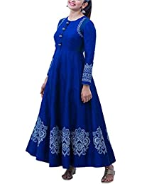 Limbudy Creation Women's Gown Latest Party Wear Silk Embroidery Semi Stitched Free Size Salwar Suit Dress Material... - B07845PK44