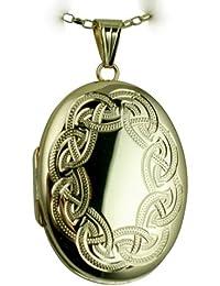 Medaillon 35x 26mm Oval aus 375Gelbgold/1000mit keltischer Knüpfbild, eingestanztes die Hand mit Kette Sturmvogel Oval