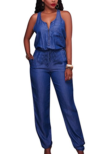 Frau Sommer Casual Ärmellose Zip - Denim - Jeans Rompers Overalls In Voller Länge Blue XL