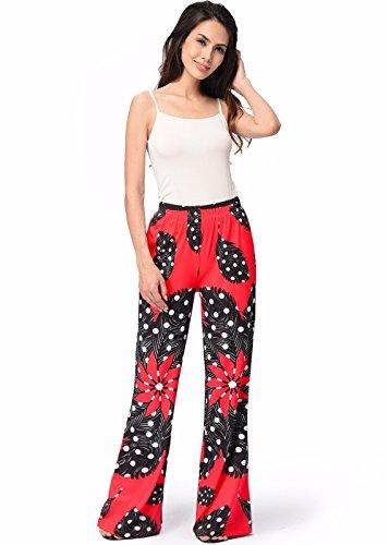frauen-techni-color-floral-red-pyjama-bottom-lounge-hose-rot-schwarz-l