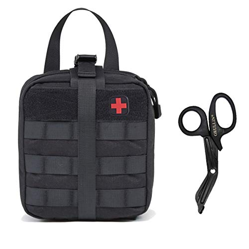 41tuQYkSZpL. SS500  - GRULLIN Tactical MOLLE IFAK Pouch+Stainless Steel Bandage Scissors Heavy Duty Set:Rip-Away EMT First Aid Kit Emergency Survival Gear Bag Medical Trauma Shears