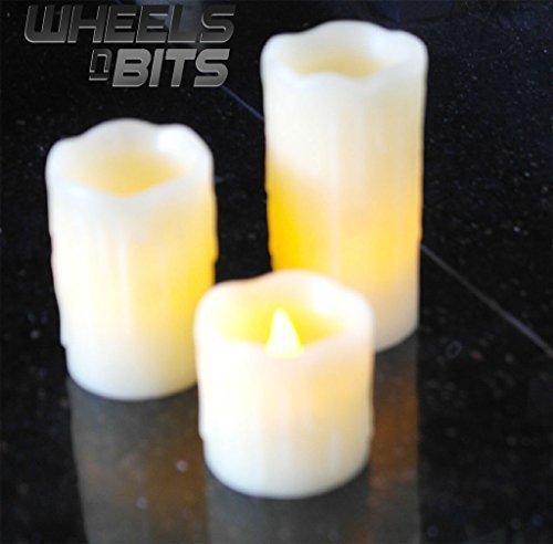 3 Stück LED batteriebetrieben Stumpenkerzen mit tropfendem Wachs &falsche Dochte